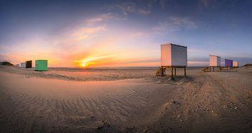 Strandhuisjes panorama van Thom Brouwer