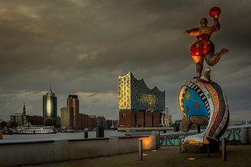 Hamburger Elbphilharmonie im abendlichen Licht von Annette Hanl