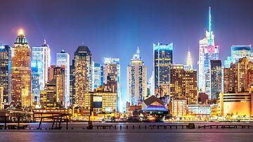 Midtown Manhattan Skyline bij Nacht