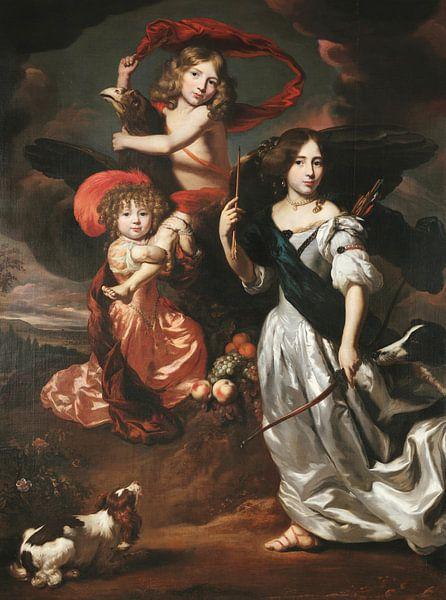 Porträt von drei Kindern als Ceres Ganymed und Diana, Nicolaes Maes von Meesterlijcke Meesters