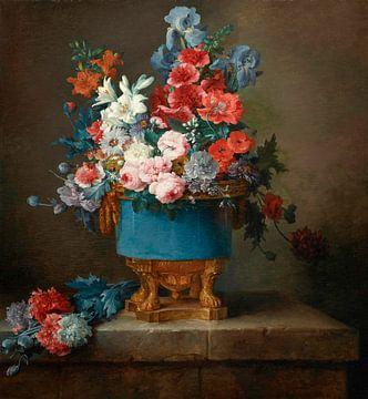 Bouquet de fleurs dans un vase en porcelaine bleue, Anne Vallayer-Coster