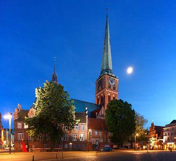 Petrikirche, Abenddämmerug, Altstadt, Lübeck, Schleswig-Holstein, Deutschland, Europa