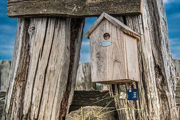 Gesloten vogelhuisje met een slotje op de deur in Molkwerum, Friesland. van Harrie Muis