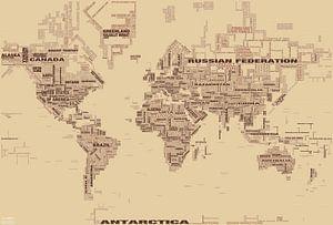 Wereldkaart Typografie, Bruin