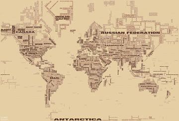 Typografische Weltkarte, Braun
