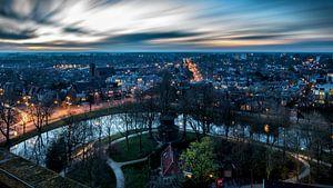 Zonsondergang vanaf de Oldehove toren Leeuwarden