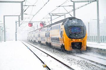 Besneeuwde trein op het Centraal Station in Amsterdam van Nisangha Masselink
