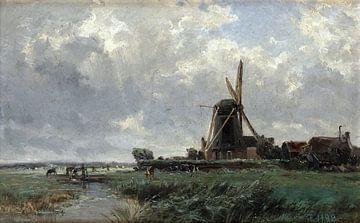 Carlos de Haes-Niederländische Mühlenlandschaft, Antike Landschaft