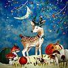 Nacht Illustration  Reh im Herbst von Uta Naumann Miniaturansicht