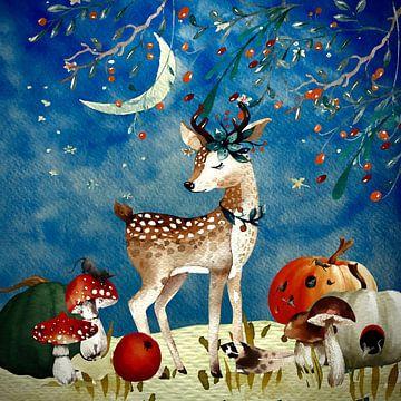 Illustration nocturne du cerf en automne sur Uta Naumann