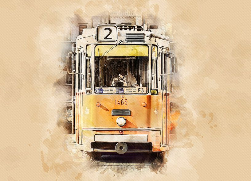 Historische tram in Boedapest van Peter Roder