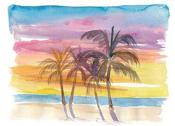 Palmen am Strand in goldener Sonnenuntergangsstimmung von Markus Bleichner