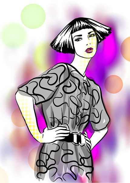 Pop Style Modeillustration von Janin F. Fashionillustrations