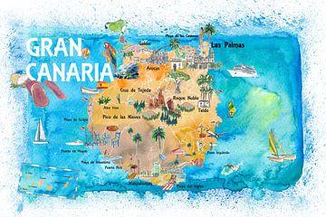 Gran Canarias Spanje geïllustreerde kaart met bezienswaardigheden en hoogtepunten van Markus Bleichner