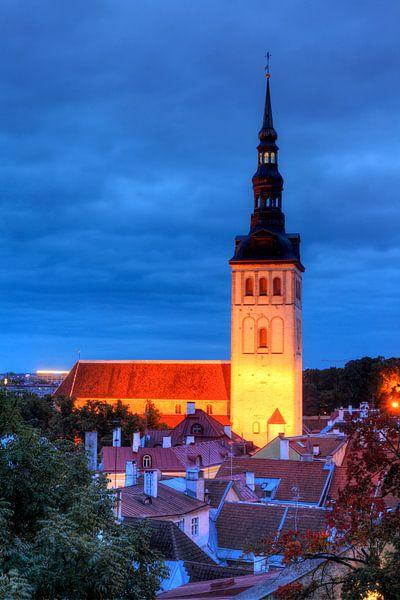 Nikolaikirche, Niguliste Kirik, Ausblick vom Domberg auf die Unterstadt, Altstadt bei Abendd�mmerung von Torsten Krüger