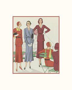 Pariser Nachmittag | Historischer Art Deco Mode Druck | Im Park