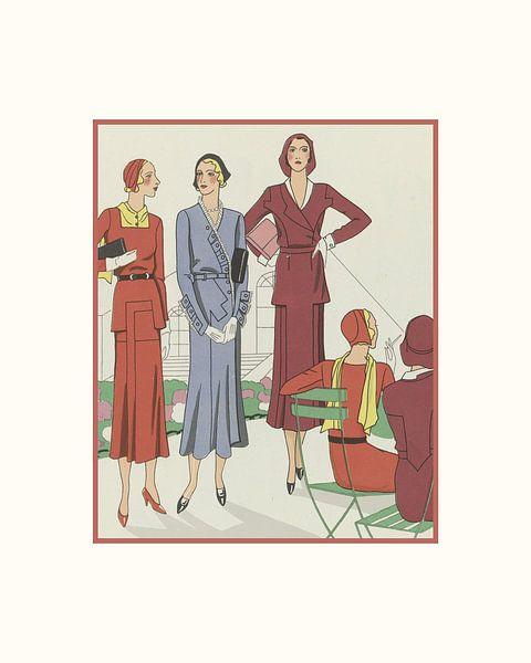 Pariser Nachmittag | Historischer Art Deco Mode Druck | Im Park von NOONY