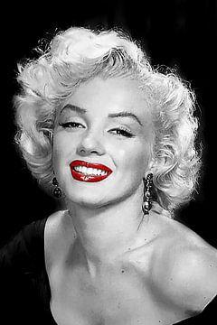 Marilyn Monroe Portrait schwarz-weiß von Gert Hilbink