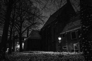 Waalse Kirche Haarlem Schnee Januar 2021 schwarz weiß von Bob Van der Wolf