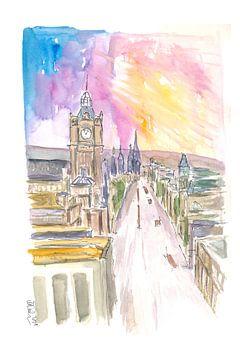 Edinburgh Princess Street bei Sonnenuntergang von Markus Bleichner