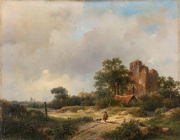 Landschaft mit den Ruinen von Schloss Brederode in Santpoort, Andreas Schelfhout