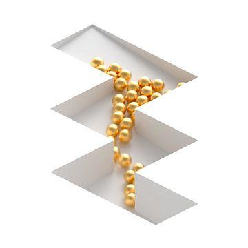 Zickzack-Murmelbahn mit goldenen Kugeln und Bewegungsunschärfe