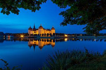Kasteel Moritzburg op het blauwe uur