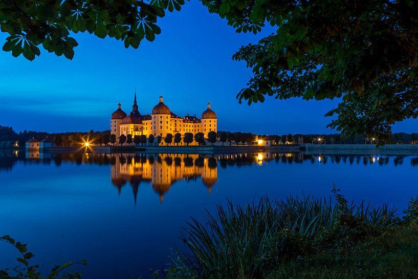 Le château de Moritzburg à l'heure bleue sur Frank Herrmann
