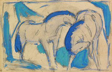 Zwei Pferde, blaugrün, Franz Marc, 1911 von Atelier Liesjes