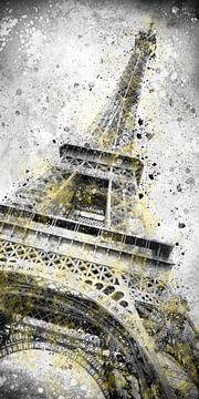 Modern Art Eiffelturm Splashes | Illuminating Yellow & Ultimate Grey von Melanie Viola