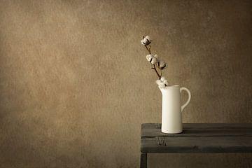 Stilleven met katoentak (Gossypium) van Mayra Pama-Luiten