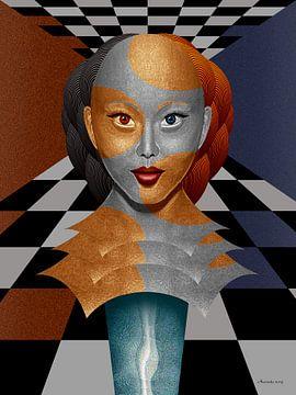 Portret Op Glazen Zuil van Ton van Hummel (Alias HUVANTO)
