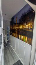 Klantfoto: Zicht op Zandbrug en Oudegracht in Utrecht vanaf de Bemuurde Weerd van Donker Utrecht, als behang