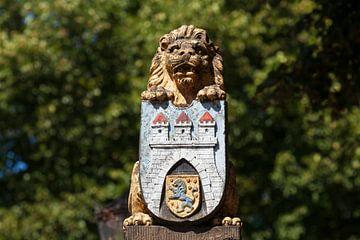 Lion d'or avec armoiries de la ville, vieille ville, Celle, Lüneburger Heide, Basse-Saxe, Allemagne, sur Torsten Krüger