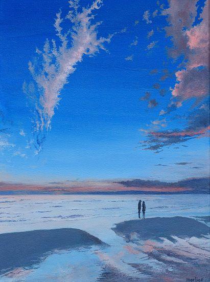 Strand bij Castricum, acryl schilderij van Marlies Huijzer