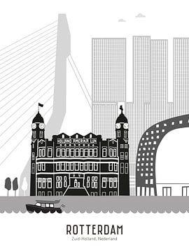 Skyline illustratie stad Rotterdam zwart-wit-grijs van Mevrouw Emmer
