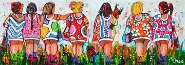 Vrolijke dikke dames gezelligheid van Vrolijk Schilderij