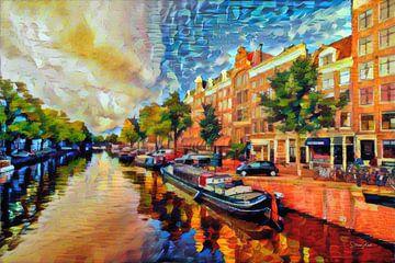 Kleurrijk schilderij Amsterdam: Grachten van Amsterdam