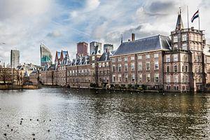 Skyline van wolkenkrabbers en overzichtsfoto van Den Haag met de Hofvijver, Mauritshuis en de 2e kam