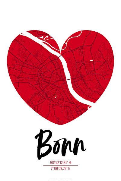 Bonn – City Map Design Stadtplan Karte (Herz) von ViaMapia