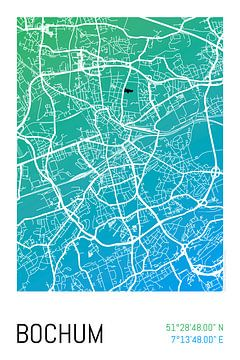 Bochum – City Map Design Stadtplan Karte (Farbverlauf) von ViaMapia