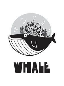 Kinderkamer Zwart Wit - Sea Adventure Whale