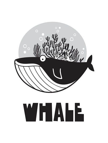 Kinderkamer Zwart Wit - Sea Adventure Whale van STUDIO68 wanddecoratie
