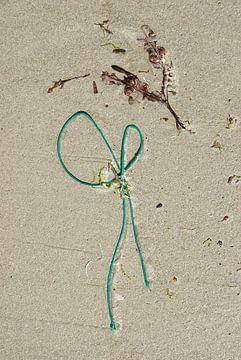 stilleven van zand, wier en plastic van Renée Teunis