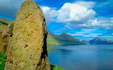 Zicht op de baai, Faroer eilanden van Rietje Bulthuis