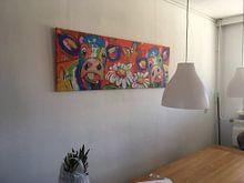 Klantfoto: Bloemenmeisjes van Vrolijk Schilderij, op canvas