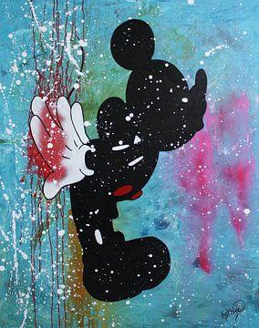 "Mickey Mouse ""Blue Kiss"" van Kathleen Artist Fine Art"