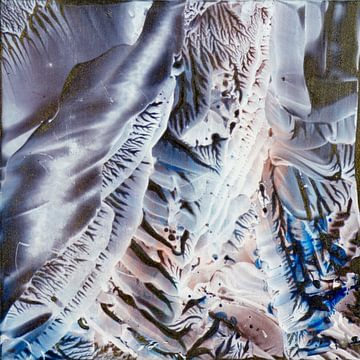 Encaustic Art blauw koper grijs wit