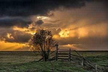 Sonnenuntergang über Noorderleeg in Friesland von Harrie Muis
