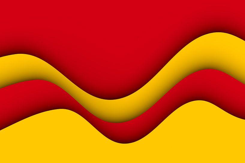 Golven rood en geel van Jörg Hausmann